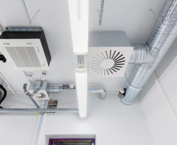 Heating and ventilation system in modern office building.